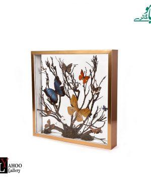 تابلو پروانه مربع بزرگ طلایی