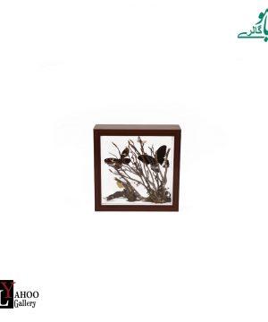 تابلو پروانه مربع کوچک قهوه ای