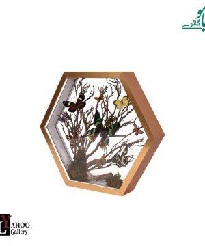تابلو پروانه 6 ضلعی بزرگ طلایی