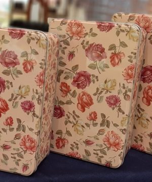 قوطی فلزی ۳تایی گل گلی مستطیل بزرگ