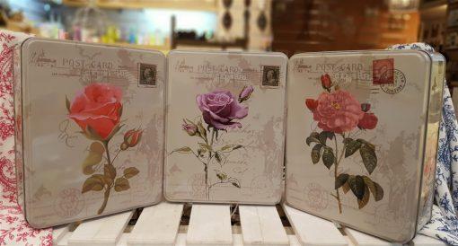 قوطی فلزی ۳تایی تک گل مستطیل