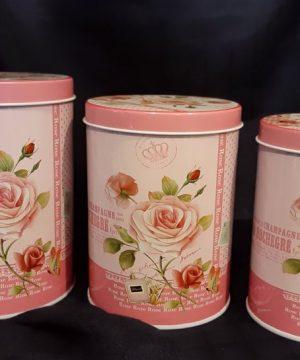 قوطی فلزی استوانه ۳تایی گلدار