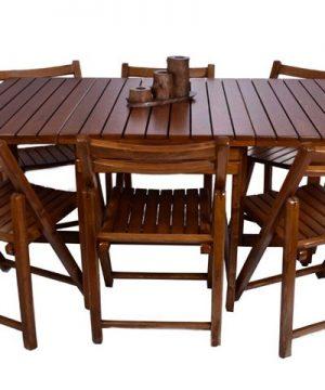 ست میز و صندلی 6 نفره تاشو مستطیل گردویی