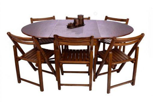 ست میز و صندلی 6 نفره تاشو گرد گردویی