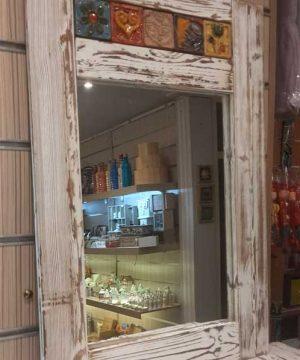 آینه قاب چوبی دولبه سفید روس