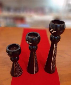 شمعدان ۳تایی مخروطی سر توپی تایلندی