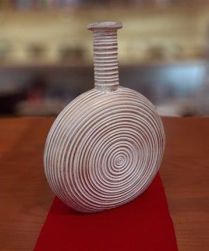 گلدان پلی استر دایره سفید قهوه ای