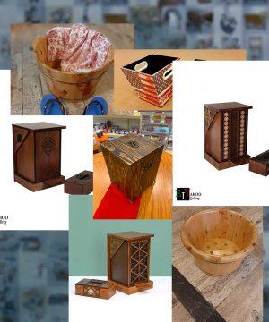 سطل و جا دستمال چوبی