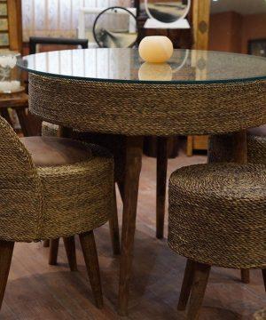 میز دایره چهار نفره حصیر بافت