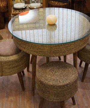 میز دایره چهار حصیر بافت