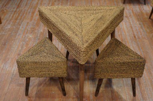 میز و صندلی مثلث3 نفره حصیر بافت