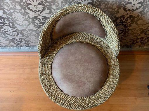 صندلی دایره پشت دار حصیر بافت