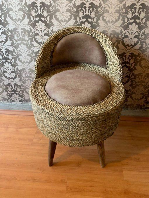 صندلی دایره پشت دار حصیر باقت