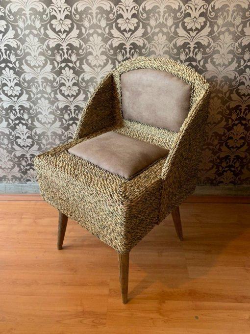 صندلی مربع پشت دار حصیر بافت