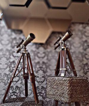 دوربین تلسکوپی پایه دار برنجی