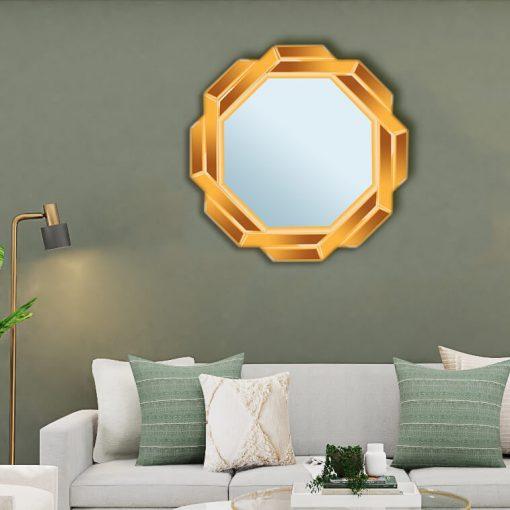 آینه دکوراتیو 8ضلعی دور پیچ قطر 70