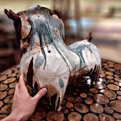 مجسمه اسب متوسط سفالی